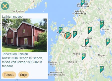 eMuseo-oppaita löytyy jo yli 20 eri puolilta Suomea. Esimerkiksi Pohjanmaan, Keski-Pohjanmaan ja Etelä-Pohjanmaan alueella useat museot ovat liittyneet mukaan. Kuvakaappaus osoitteesta www.emuseo.fi.