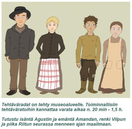 Kuvakaappaus Suomussalmen kotiseutumuseon mobiilioppaasta, joka johdattaa seikkailemaan museoalueelle.
