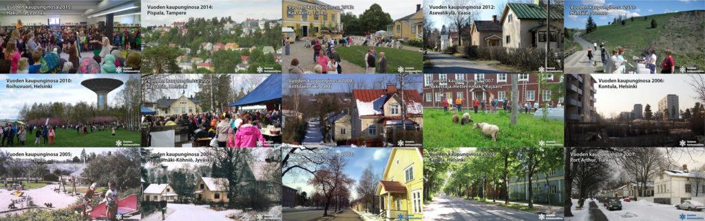 Kuvassa Vuoden kaupunginosat 2001-2015. Klikkaamalla saat kuvan suuremmaksi.