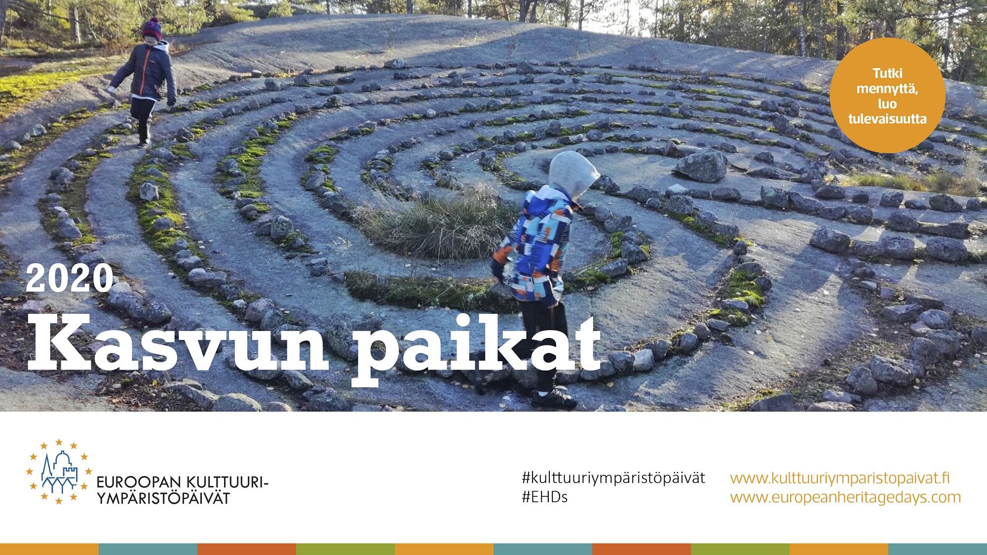 Euroopan kulttuuriympäristöpäivien vuoden 2020 teeman Kasvun paikat teemakuva, lapset juoksevat jatulintarhassa.