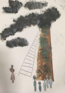 Maalaus savua tupruttavasta tehtaanpiipusta ja hahmoista sen juurella