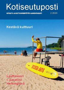 Kotiseutupostin 2/2020 kansikuva on rannalta Lauttasaaresta tekstillä Lauttasaari -paratiisi Helsingissä